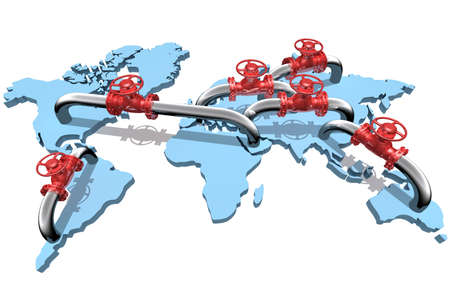 petrochemical: 3D rendered pipelines on world map Stock Photo