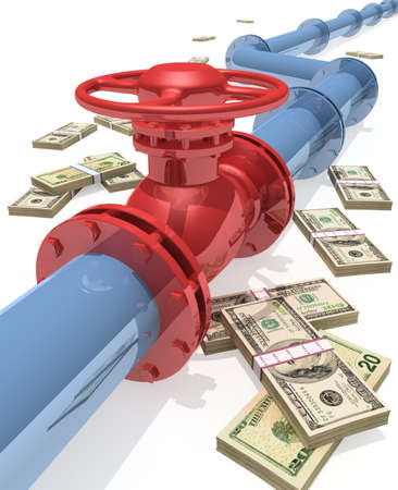 natural gas prices: 3D rendered pipeline with money