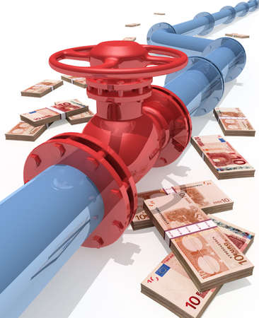 methane: 3D rendered pipeline with money