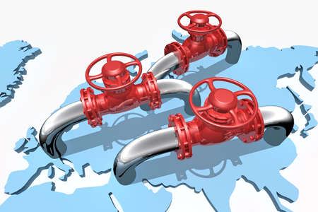 gas distribution: 3D rendered pipelines on world map Stock Photo