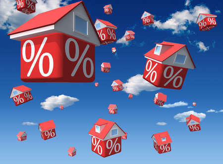 Falling houses with percent symbol on sky background photo