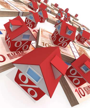 The real estate crisis . 3D rendered illustration illustration