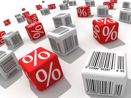 Simboli per cento e di codici a barre su cubi