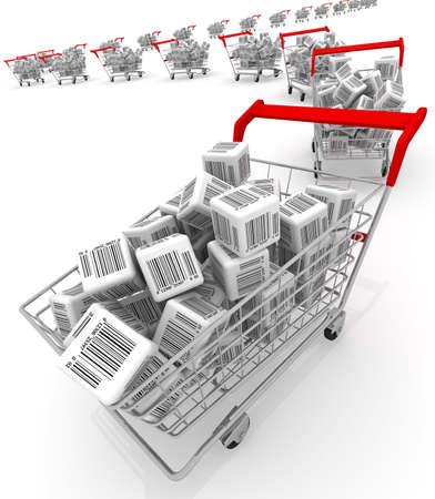 Shopping carts isolated on white
