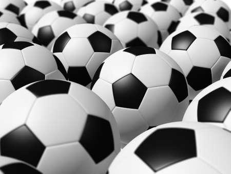 3D rendered soccer balls background photo