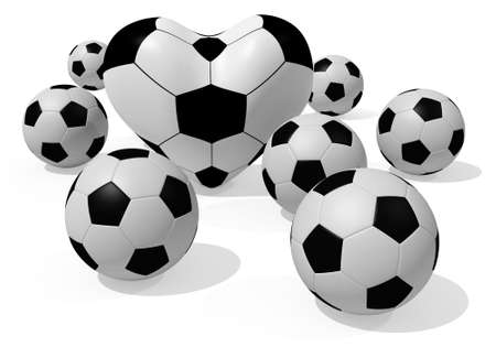 3D rendered soccer balls isolated on white photo