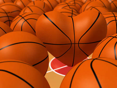nba: Heart shape and collection of sport balls