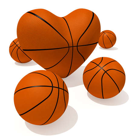 Heart shape and collection of sport balls
