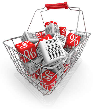 Shopping basket with cubes isolated on white