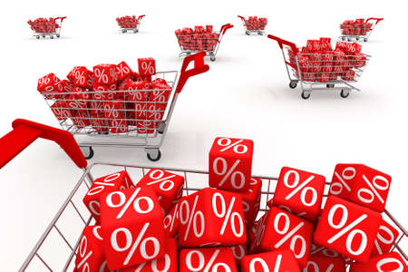 Shopping carts with red cubes  Stock Photo