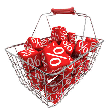 Shopping basket with red cubes Stock Photo