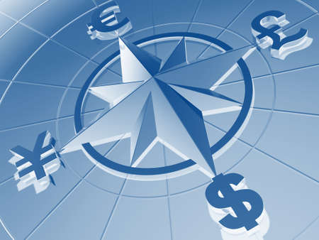 yen: Money concept  with symbols of Dollar,  Euro, Pound,  and Yen