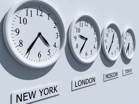 time zones: Timezone clocks showing different time