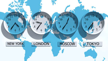 analogs: Timezone clocks showing different time