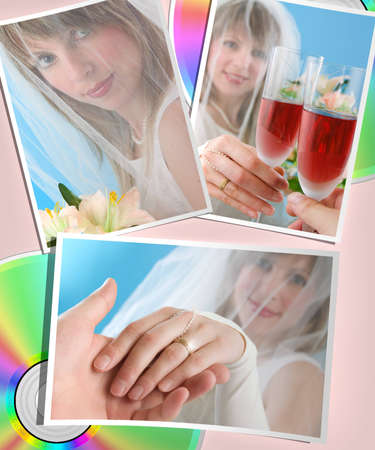 Several printed wedding photos with cd photo