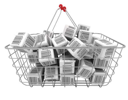 Shopping basket and cubes with bar-codes Stock Photo