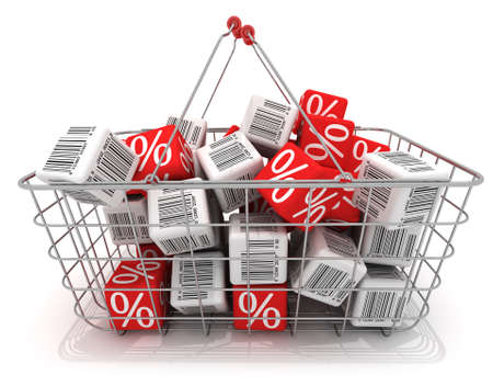 barcode scan: Shopping basket with cubes isolated on white