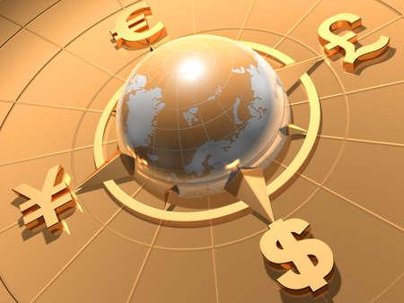 Globe with symbols of Dollar, Euro, Pound, and Yen