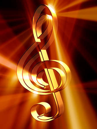 treble clef: Shining 3d rendered golden treble clef