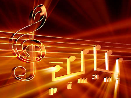 melodies: Shining 3d rendered golden music notes