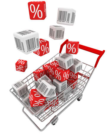 Shopping cart with falling cubes