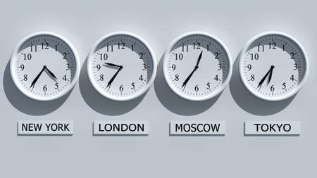 clocks: Timezone clocks showing different time