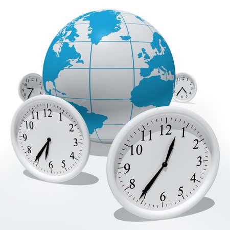 Globe with clocks isolated on white Stock Photo - 4372856
