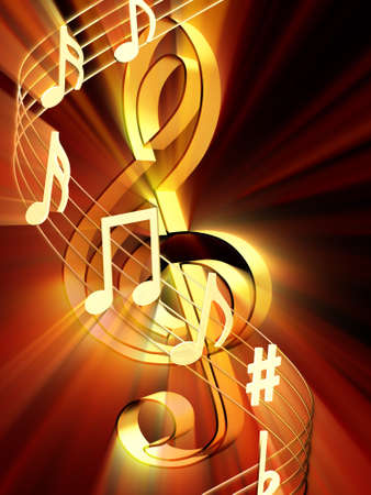 Shining 3d rendered golden music notes