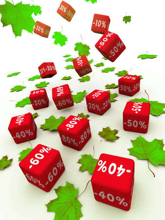 falling cubes: Symbols of percent on falling red cubes.