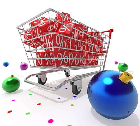 Shopping cart with red cubes photo