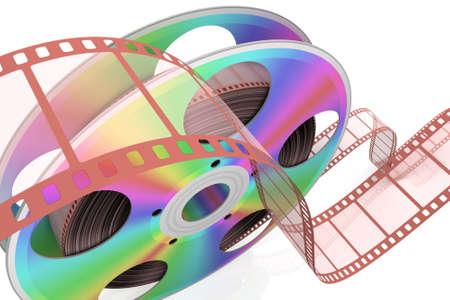 rollo pelicula: CD de vídeo. Conceptual 3d representa la ilustración.