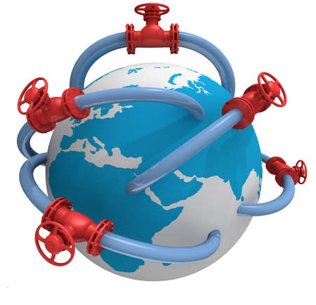 petrochemical: 3D rendered pipeline with globe on white