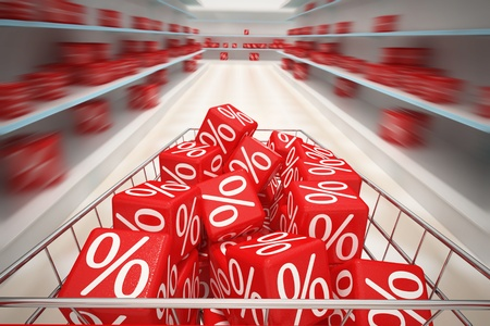 Shopping cart with red cubes Stock Photo - 11512964