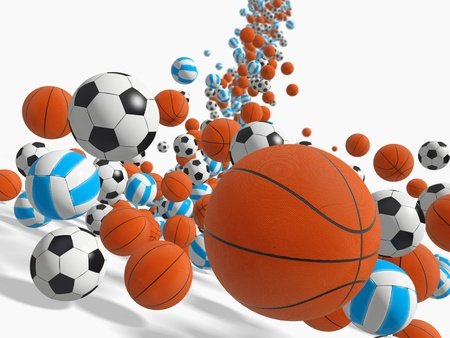 Falling balls.  3D rendered illustration. illustration
