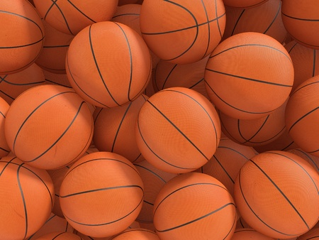 Sport balls background. 3d rendered illustration. Stock Photo