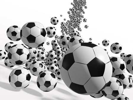 떨어지는 공. 3D 렌더링 그림.