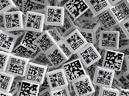 Cubes with QR codes. 3d rendered illustration. Stock Photo