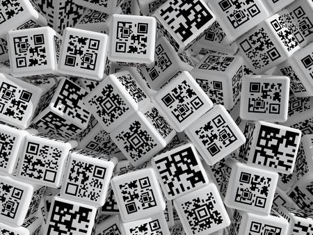 Cubes with QR codes. 3d rendered illustration. illustration