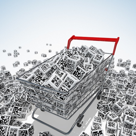 Shopping cart with QR codes on white photo
