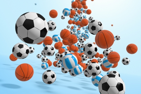 bouncing: Falling balls   3D rendered illustration
