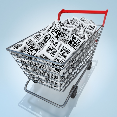 Shopping cart with QR codes photo