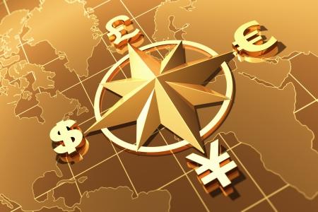 rosa de los vientos: Dinero concepto con símbolos de dólar, el euro, la libra y el yen