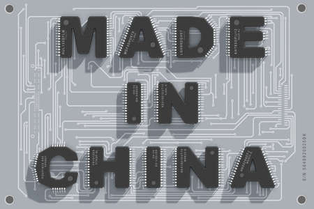 Electronic circuit board with text Made in China. 3d illustration.