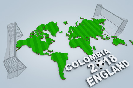 Concept of World championship. COLOMBIA vs ENGLAND. 3D illustration.