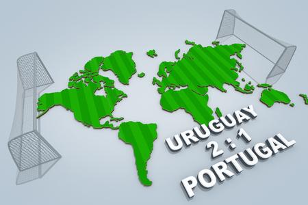 Concept of World championship. URUGUAY vs PORTUGAL. 3D illustration.