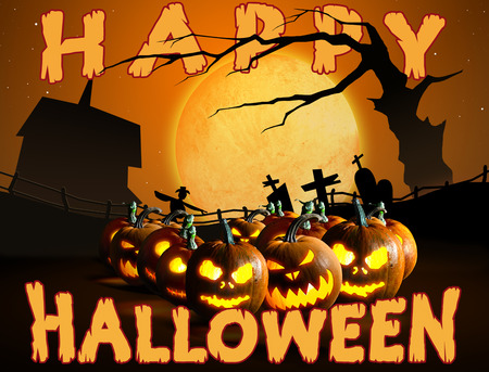 Group of Halloween Jack o Lanterns on  cemetery background