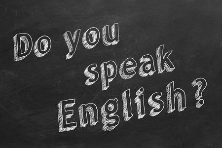 Do you speak English writing on chalkboard Stock Photo