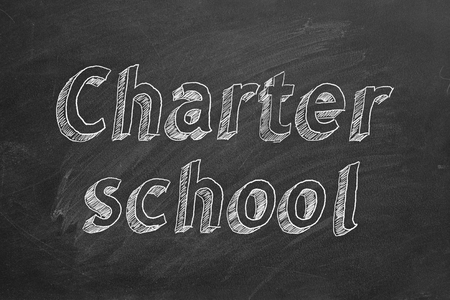 Charter school. Hand drawing text.
