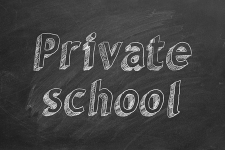 Private school. Hand drawing text. Banque d'images