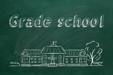 School building  and lettering Grade school on blackboard. Hand drawn sketch. Stok Fotoğraf